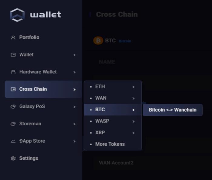 Dans l'onglet Cross Chain, on choisit sa paire, ici BTC.