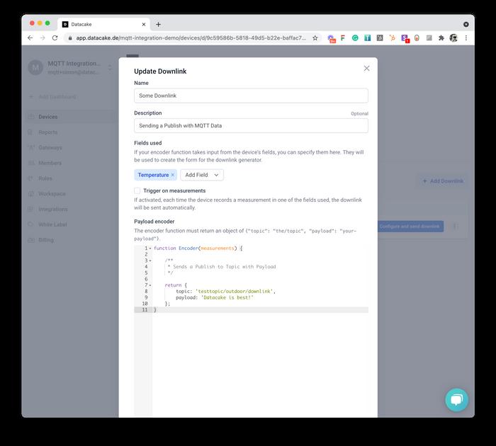 Downlink Payload Encoder Editor on Datacake