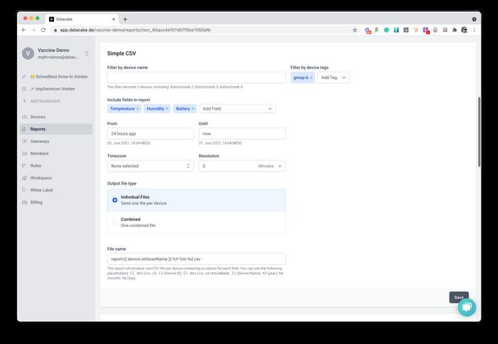 Datacake Report Engine that creates periodic CSV-File exports