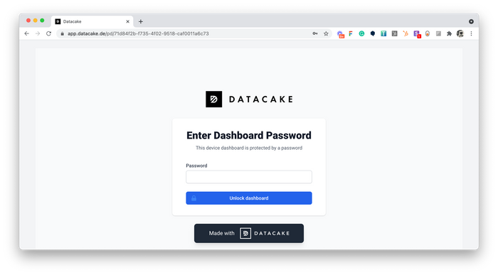 Password Input of Public Dashboard