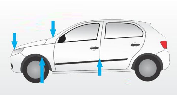 Les VIN sont aux emplacements indiqués par les flèches bleues<br>