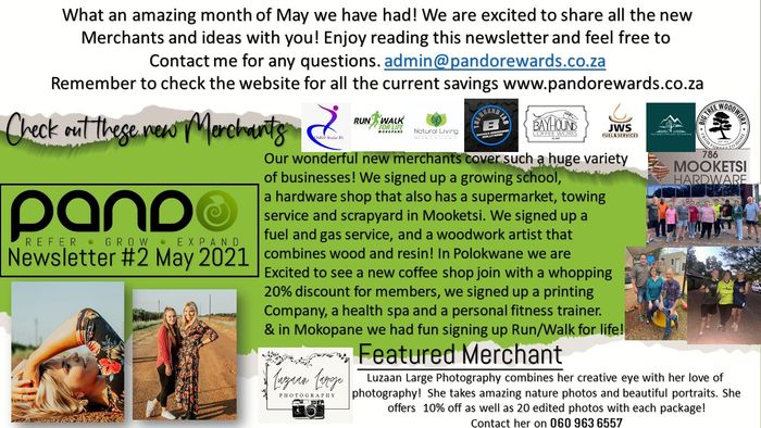 Page 1, with all our new merchants and our merchant of the month!