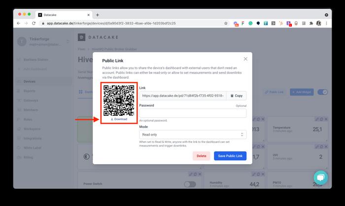 Download QR-Code for Datacake Device Dashboard