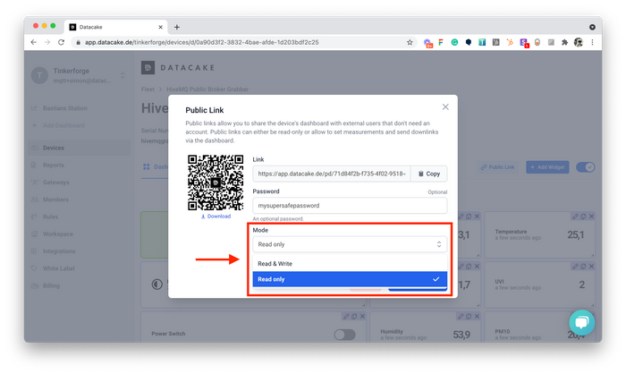 Set Access and Permission Mode on Public Device Dashboards