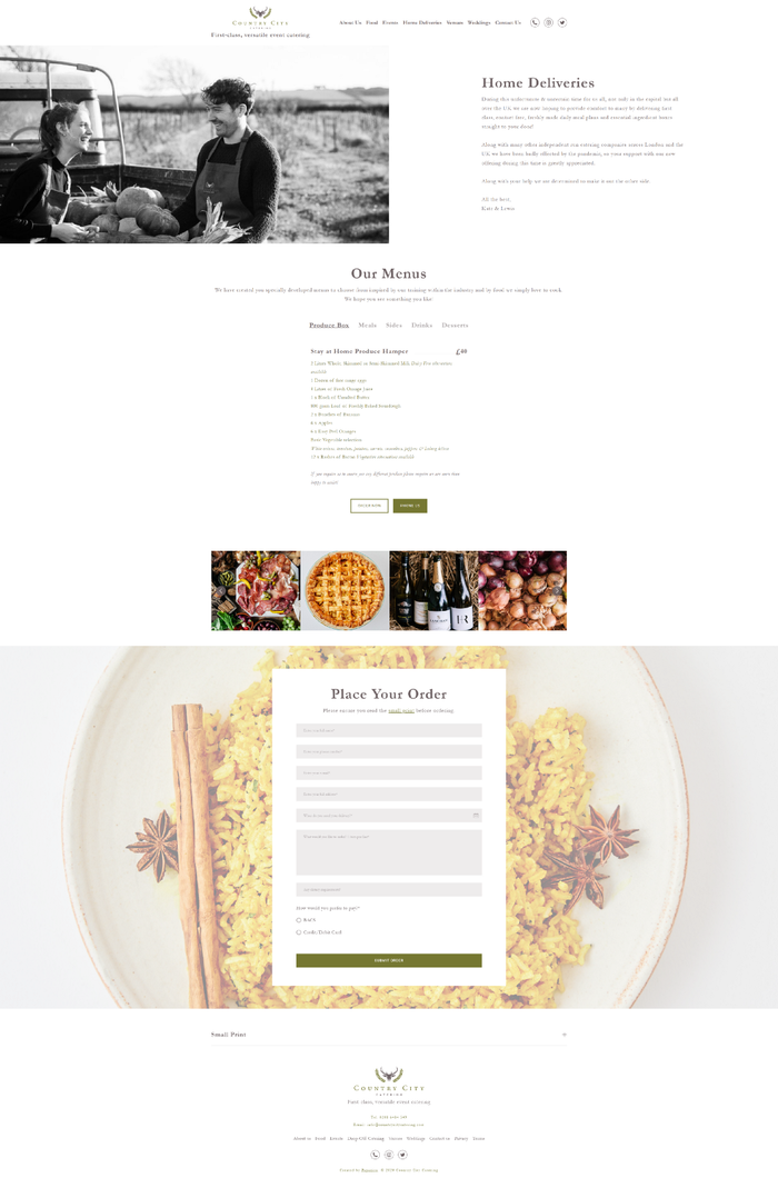Simple menu and order form solution for catering company