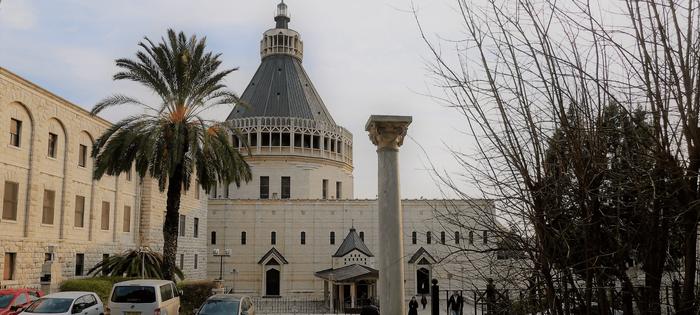 Nazaret es parada obligada en los circuitos religiosos. Esta es la Basílica de la Anunciación