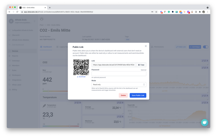 Share your IoT Device Dashboards using QR-Code