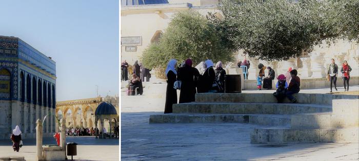 Escenas familiares en la Explanada de las Mezquitas