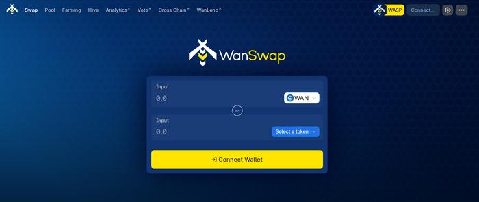 WanSwap permet d'échanger des cryptos, à la manière d'un exchange de type Binance mais sur la WanChain et de façon décentralisée.