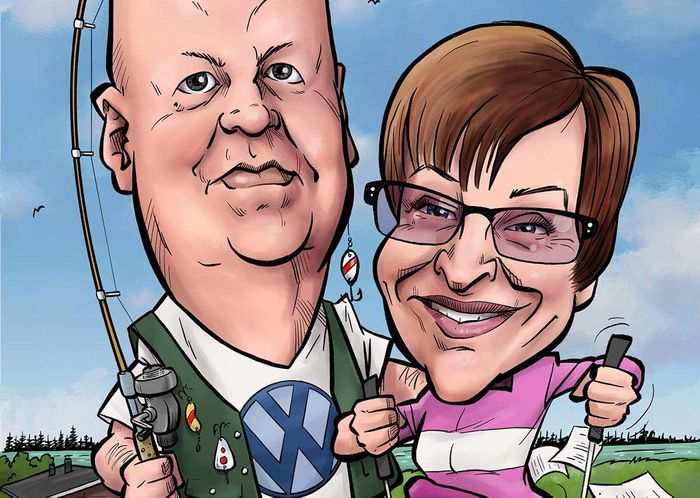Hauska lahja pariskunnalle - karikatyyri
