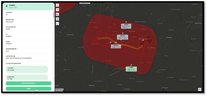 Skeydrone Monitor displaying real-time air traffic detected by our SEN-ID's<br>