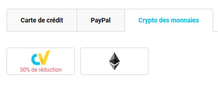 Les options de paiement disponibles<br>