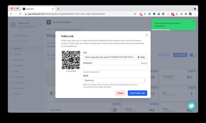 Datacake Public Link of Device Dashboard Settings
