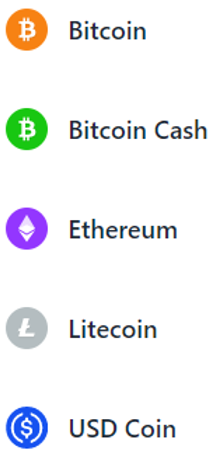 Paparicocurrently accepts Bitcoin, Bitcoin Cash, Ethereum, Litecoin, and USD Coin but will be expanding on this in future.
