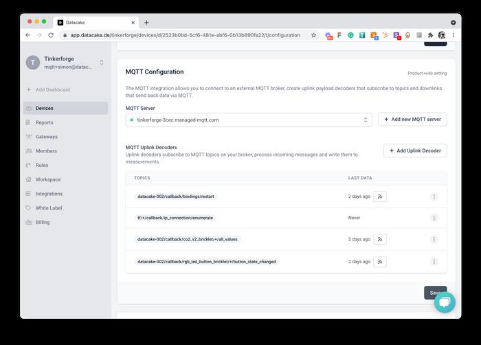 The New MQTT Integrations Panel on a Datacake API Device