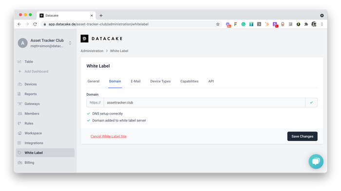 White Label Domain Integration Setup Dialog
