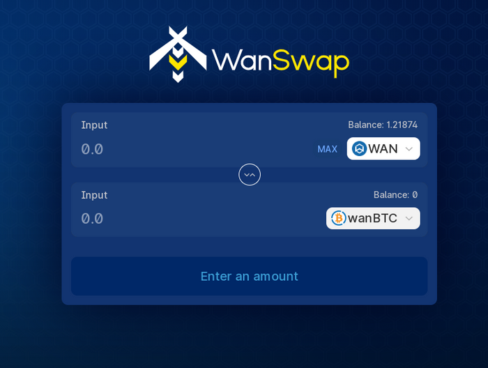 Ici par exemple, nous pouvons échanger du WAN contre du wanBTC.