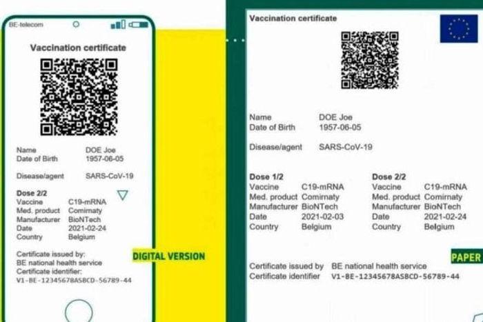 Образец электронной и бумажной версии зеленого сертификата. макет