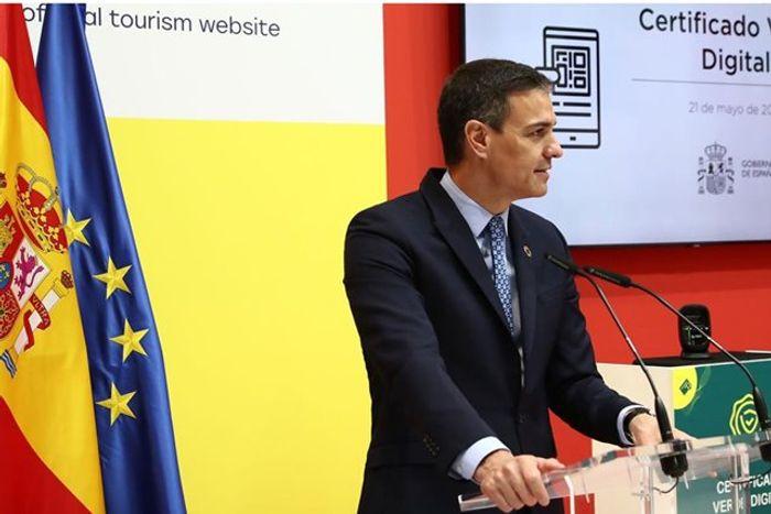 Педро Санчес на презентации цифрового зеленого сертификата.фото