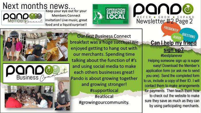 Page 2 with all our exciting things that happened this month!